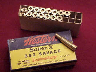 Box Western .303 Savage Super X empty cases
