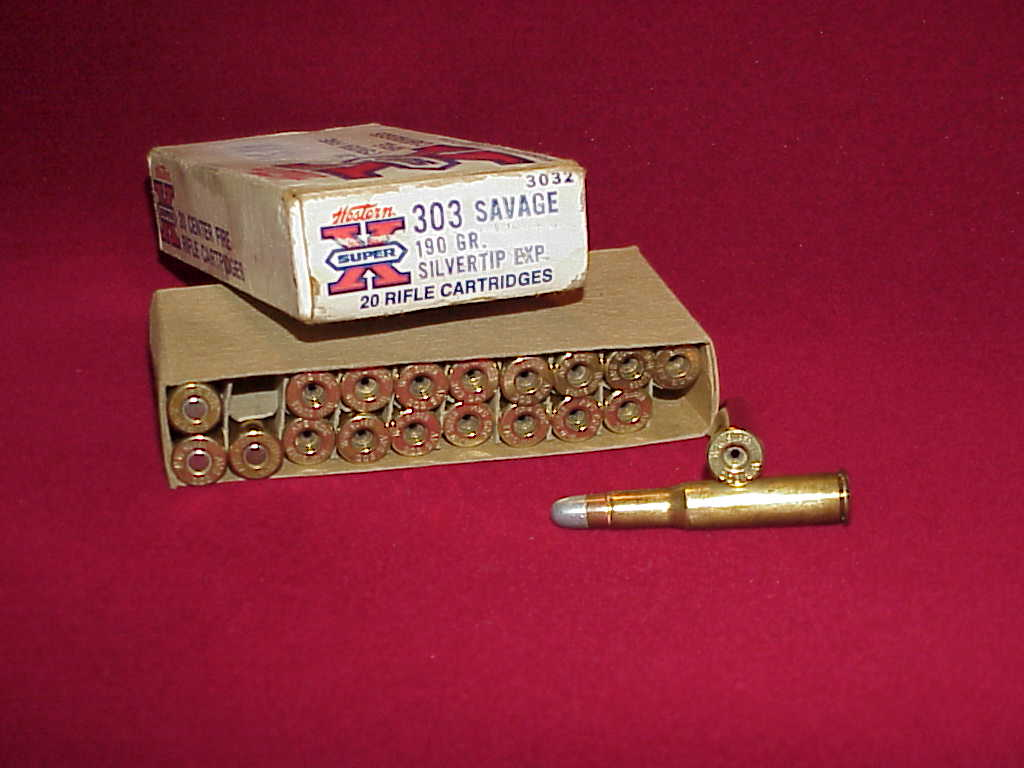 Western Ammunition Box, .303 Savage Super X with empty cases.