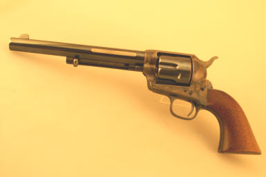 "Colt Single Action Army Revolver, SAA, ""Frontier Six Shooter"" is etched on barrel in .44-40 caliber."
