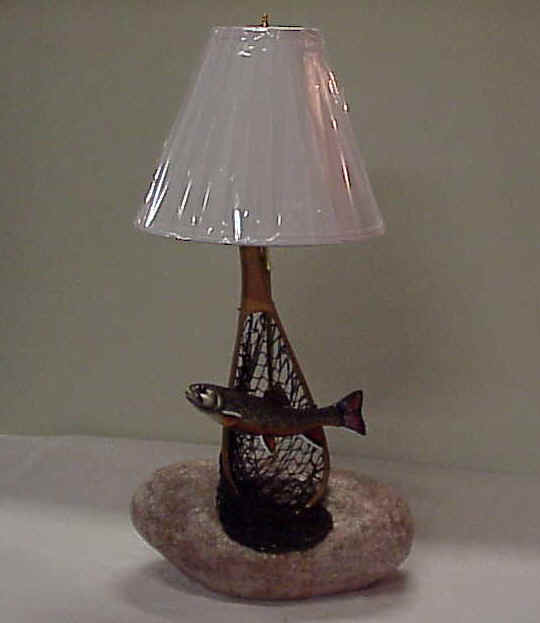 Carved Wood Trout Lamp