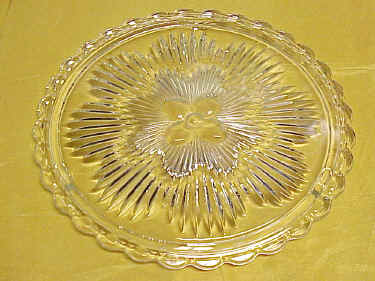 Clear Vintage Pressed Glass Fancy Cake Serving Plate
