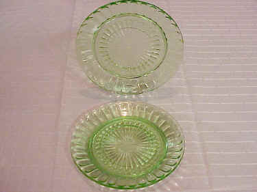 Green Depression Glass Pillar Optic Sherbet Plates