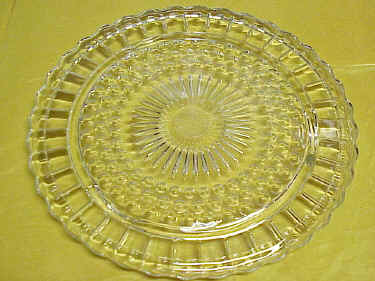 PRESSED GLASS Clear Footed Serving Plate