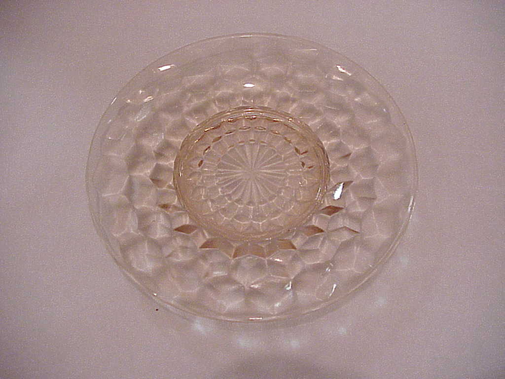 Jeanette Depression Glass Pink Cubist Pattern Saucers