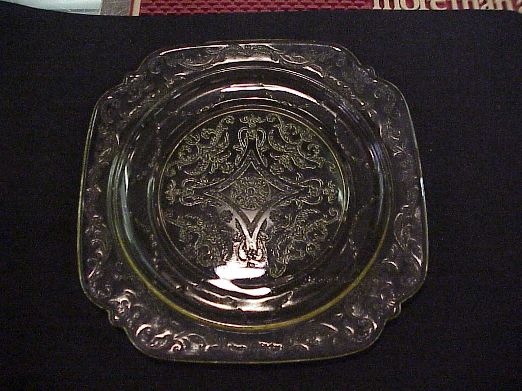 Depression Glass Madrid Plate Amber 1