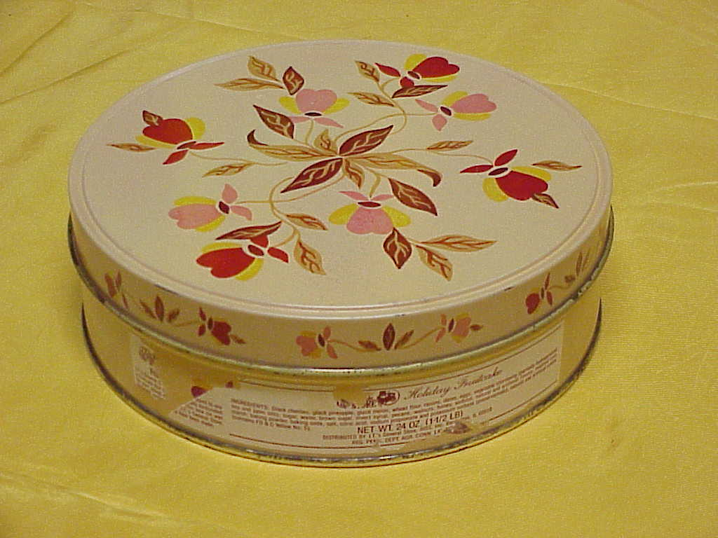 Jewel Tea Autumn Leaf Covered Fruit Cake Tin