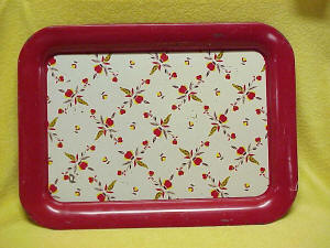 Jewel Tea Autumn Leaf Red Metal Serving Tray