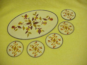 Jewel Tea Autumn Leaf Metal Coasters