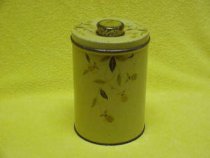 Jewel Tea Autumn Leaf Round Metal Canister