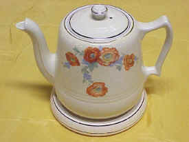 Orange Poppy Pattern Coffee Pot & Lid with Ceramic Hot Plate